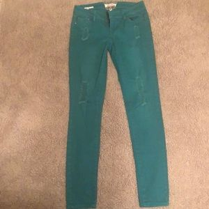 Fun turquoise skinny jeans